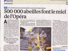 Le Parisien couvre l'arrivée des ruches à l'Opéra